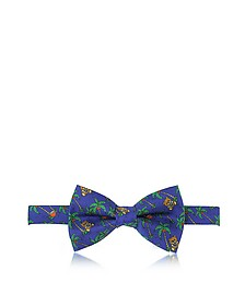 Blue Palms and Teddy Bears Printed Twill Silk Pre Tied Bow Tie - Moschino
