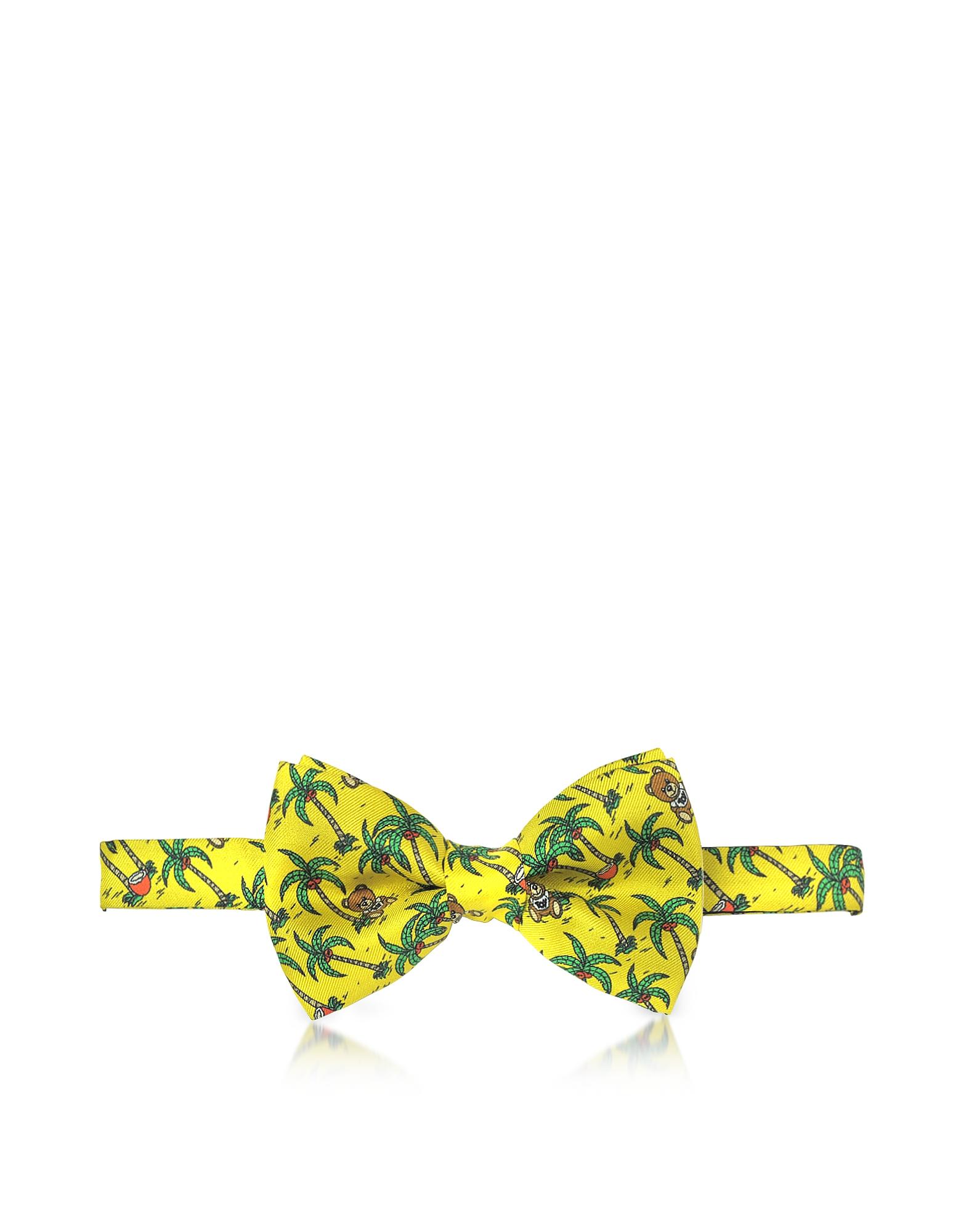 Желтый Галстук Бабочка из Твилового Шелка с Принтом Пальм и Медвежат