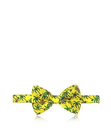 Yellow Palms and Teddy Bears Printed Twill Silk Pre Tied Bow Tie - Moschino