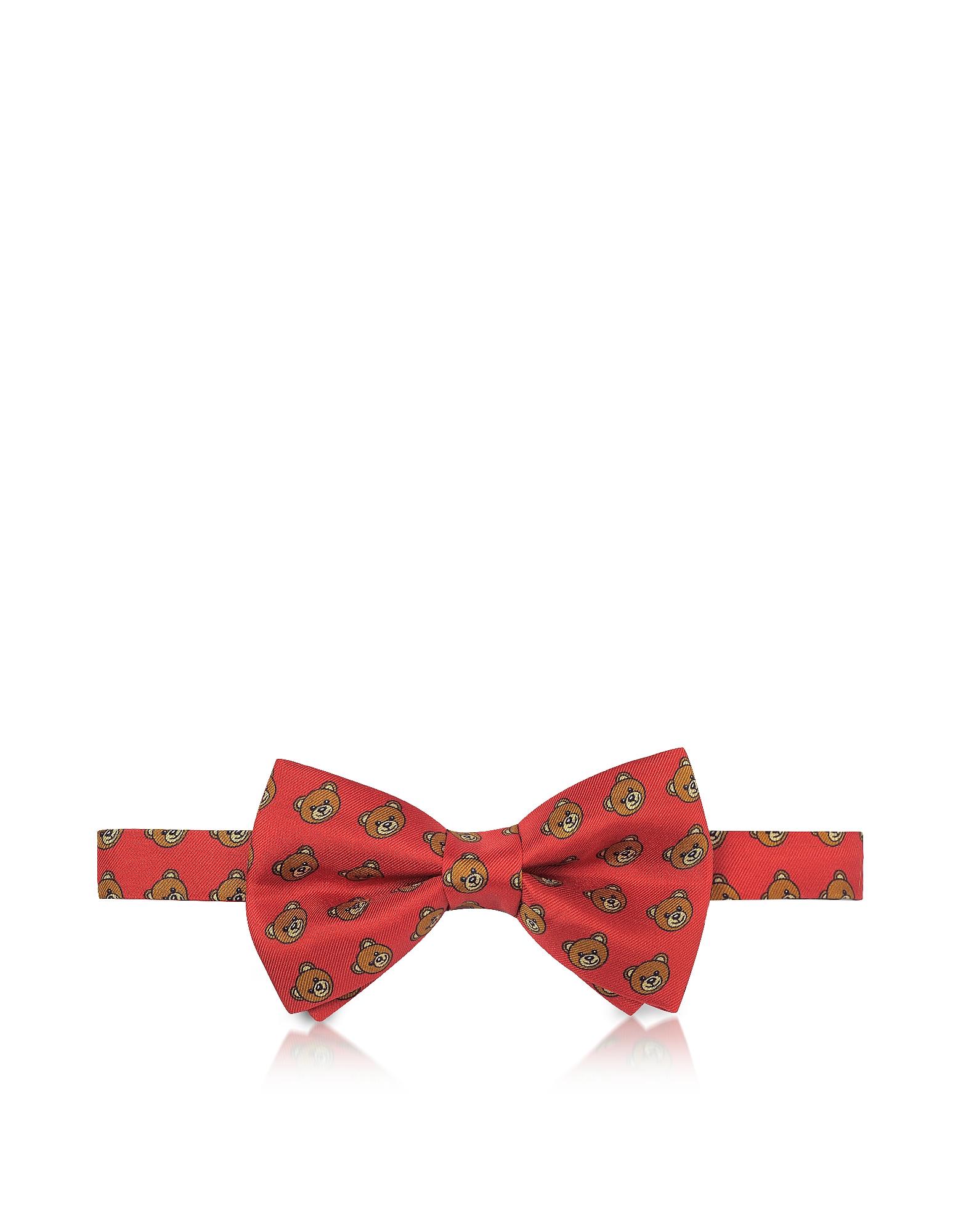 Moschino Красный Галстук Бабочка из Твилового Шелка с Принтом Медвежат