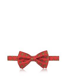 Red Multi Teddy Bear Print Twill Silk Pre Tied Bow Tie - Moschino