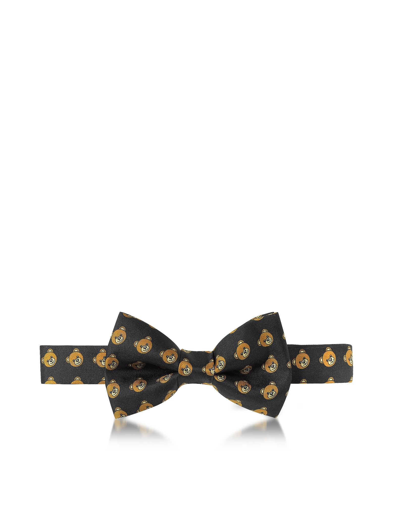 Black Multi Teddy Bear Print Twill Silk Pre Tied Bow Tie