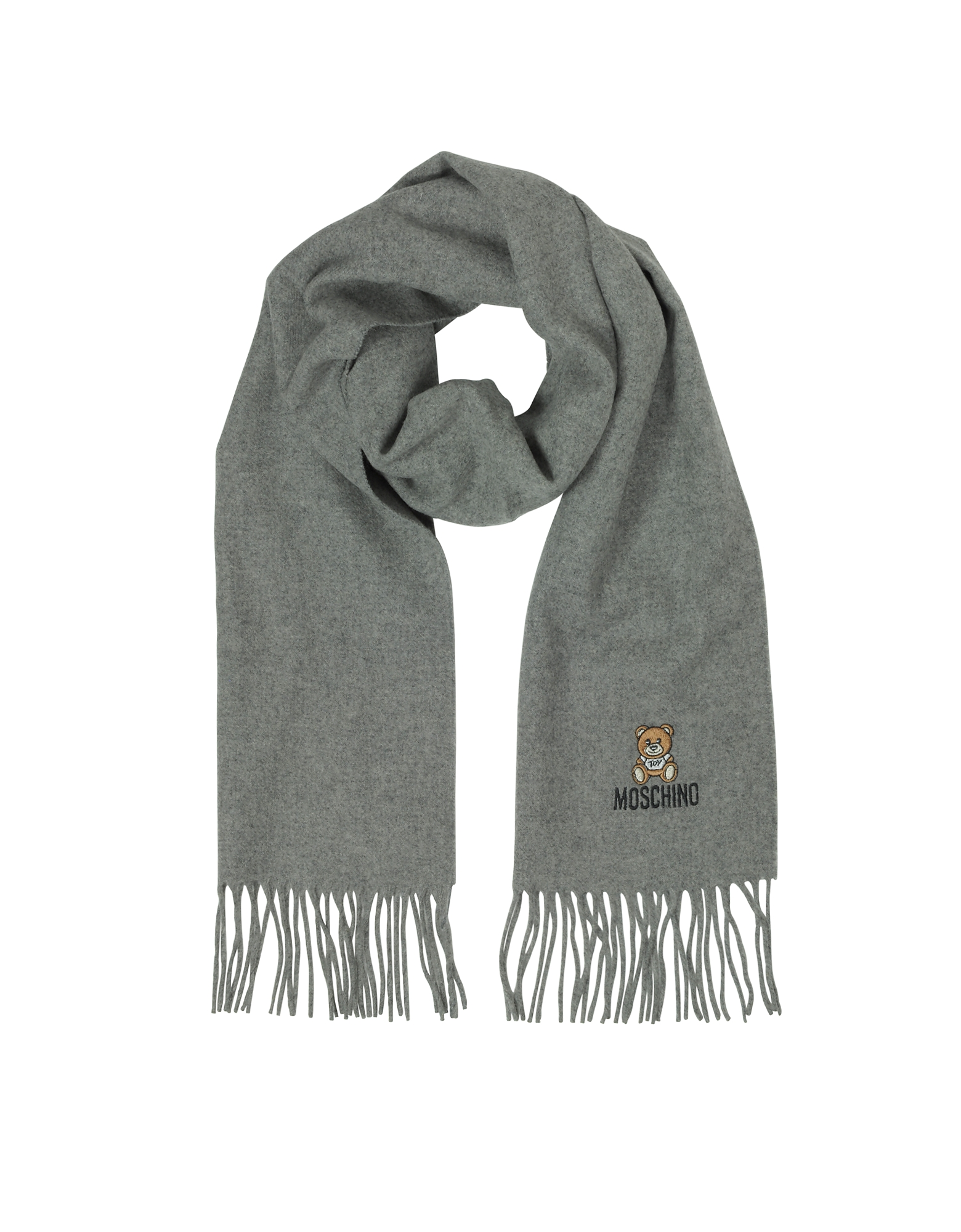 Teddy Bear Solid Wool Fringed Long Scarf