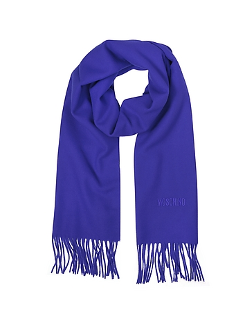 Moschino - Solid Wool Signature Long Scarf w/Fringe