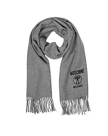 Solid Wool Logo Long Scarf w/Fringe - Moschino