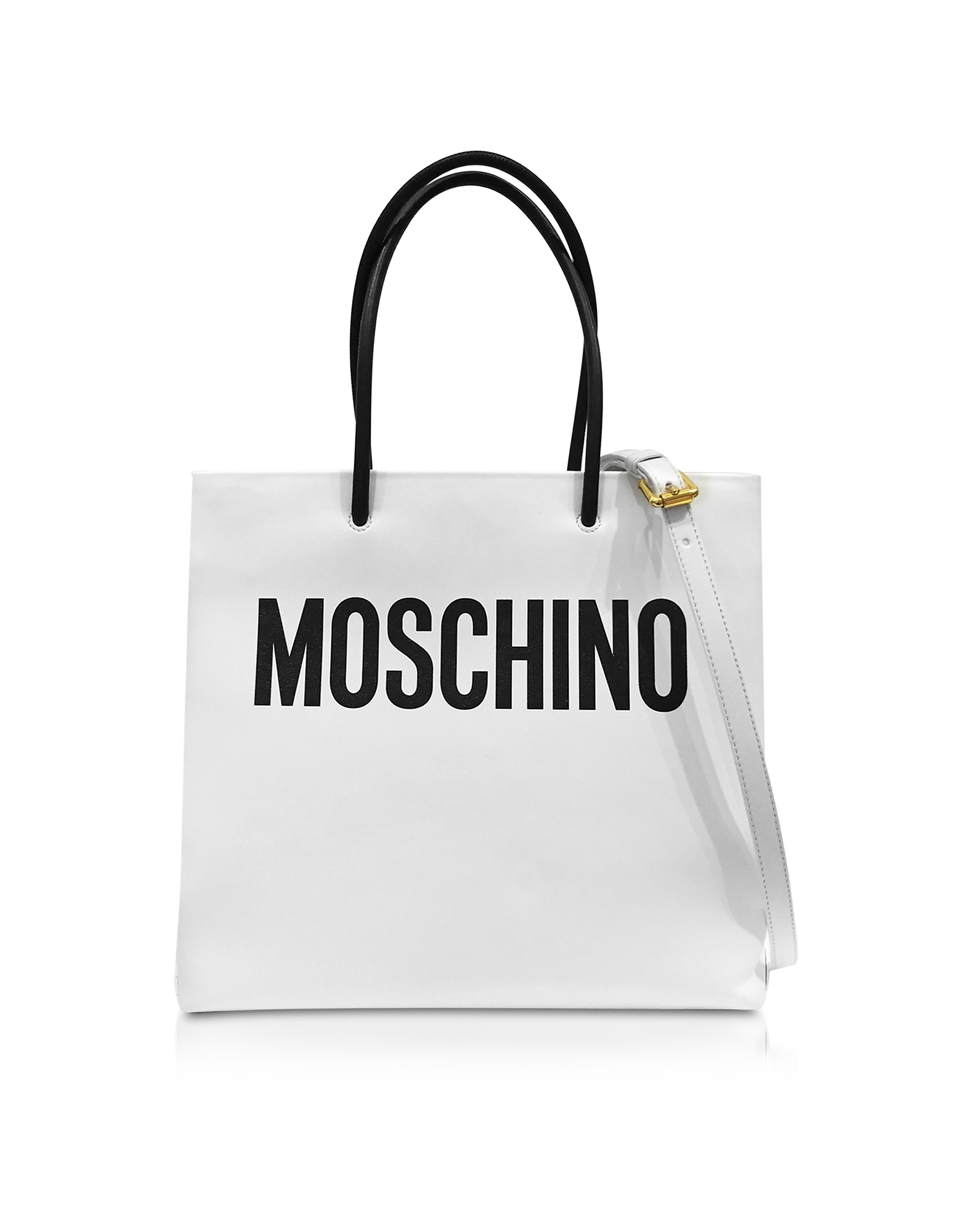 White and Black Signature Leather Vertical Tote