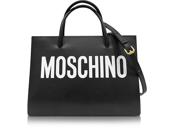 Black and White Signature Leather E/W Tote - Moschino