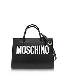 Black and White Signature Leather E/W Tote - Moschino