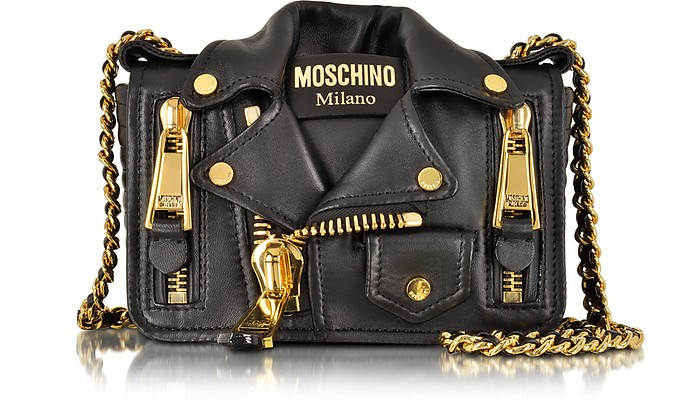 Nappa Leather Biker Jacket Shoulder Bag - Moschino