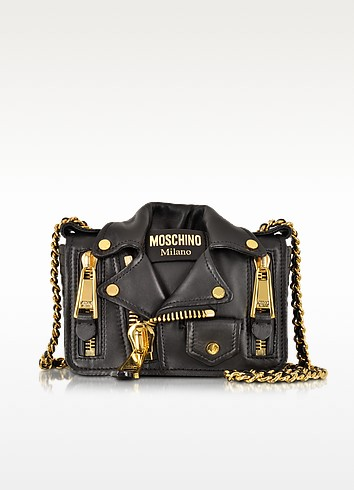 Nappa Leather Biker Jacket Shoulder Bag - Moschino