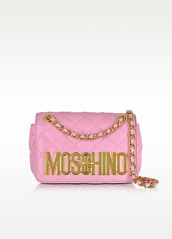 Quilted Nappa Leather Golden Logo Shoulder Bag w/Chain - Moschino