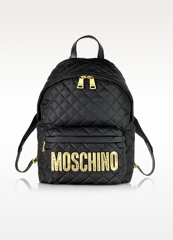 Black Quilted Nylon Backpack w/Laminated Logo - Moschino
