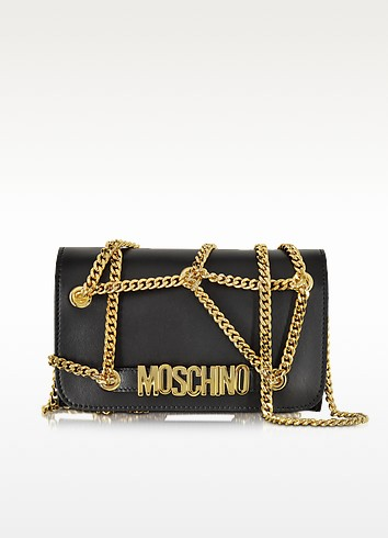 Black Leather Wallet/Clutch - Moschino