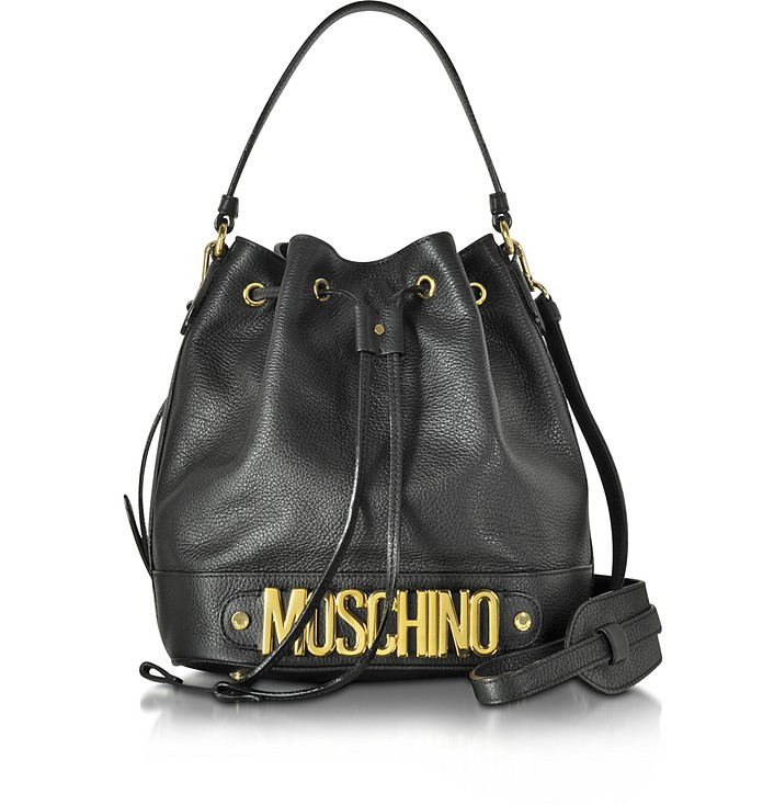 Black Leather Bucket Bag - Moschino