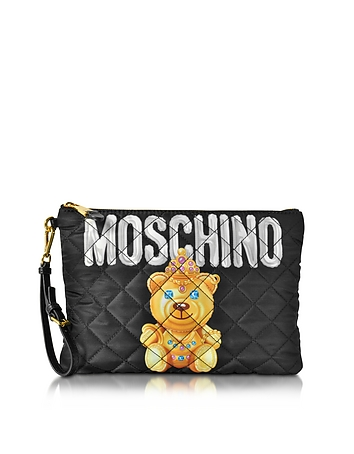 Moschino - Teddy Bear Black Quilted Nylon Clutch