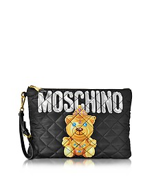 Teddy Bear Black Quilted Nylon Clutch - Moschino