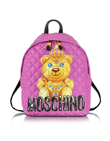 Moschino - Teddy Bear Pink Quilted Nylon Backpack