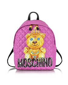 Teddy Bear Pink Quilted Nylon Backpack - Moschino