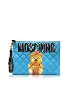 Moschino Clutch Grande  in Nylon Turchese Matelassé Teddy Bear - moschino - it.forzieri.com