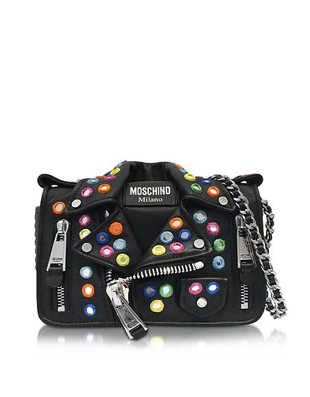 Moschino Black Biker Jacket Shoulder Bag