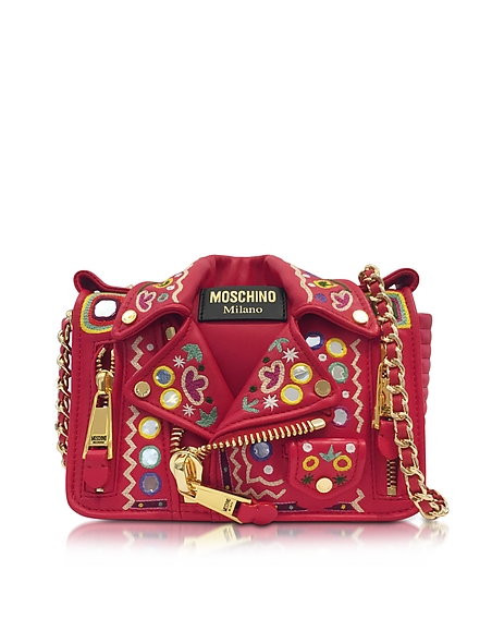 Moschino Red Biker Jacket Shoulder Bag