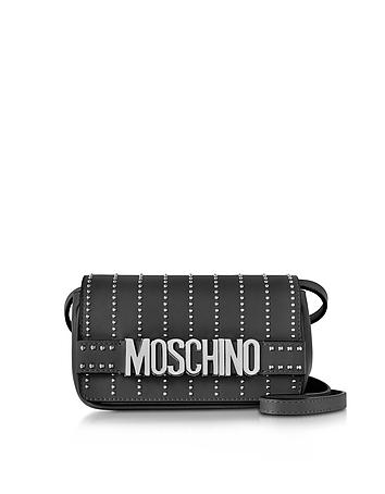 Black Leather Crossbody Bag w/Studs