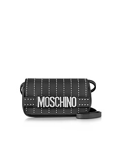 Black Leather Crossbody Bag w/Studs - Moschino