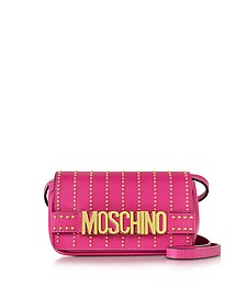 Fuchsia Leather Crossbody Bag w/Studs - Moschino