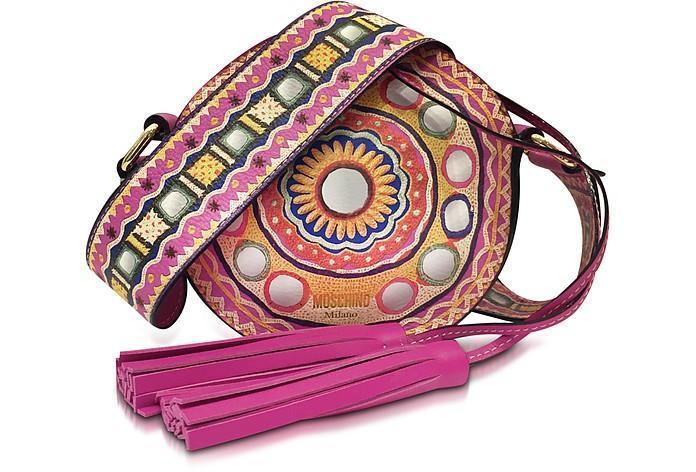 Fuchsia Leather Round Crossbody Bag w/Tassels - Moschino