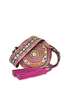 Fuchsia Leather Round Crossbody Bag w/Tassels - Moschino
