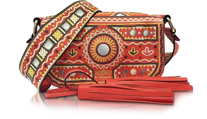 Coral Red Crossbody Bag w/Tassels - Moschino