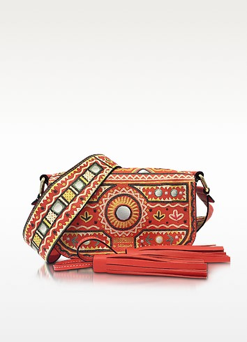 Coral Red Crossbody Bag w/Tassels - Moschino