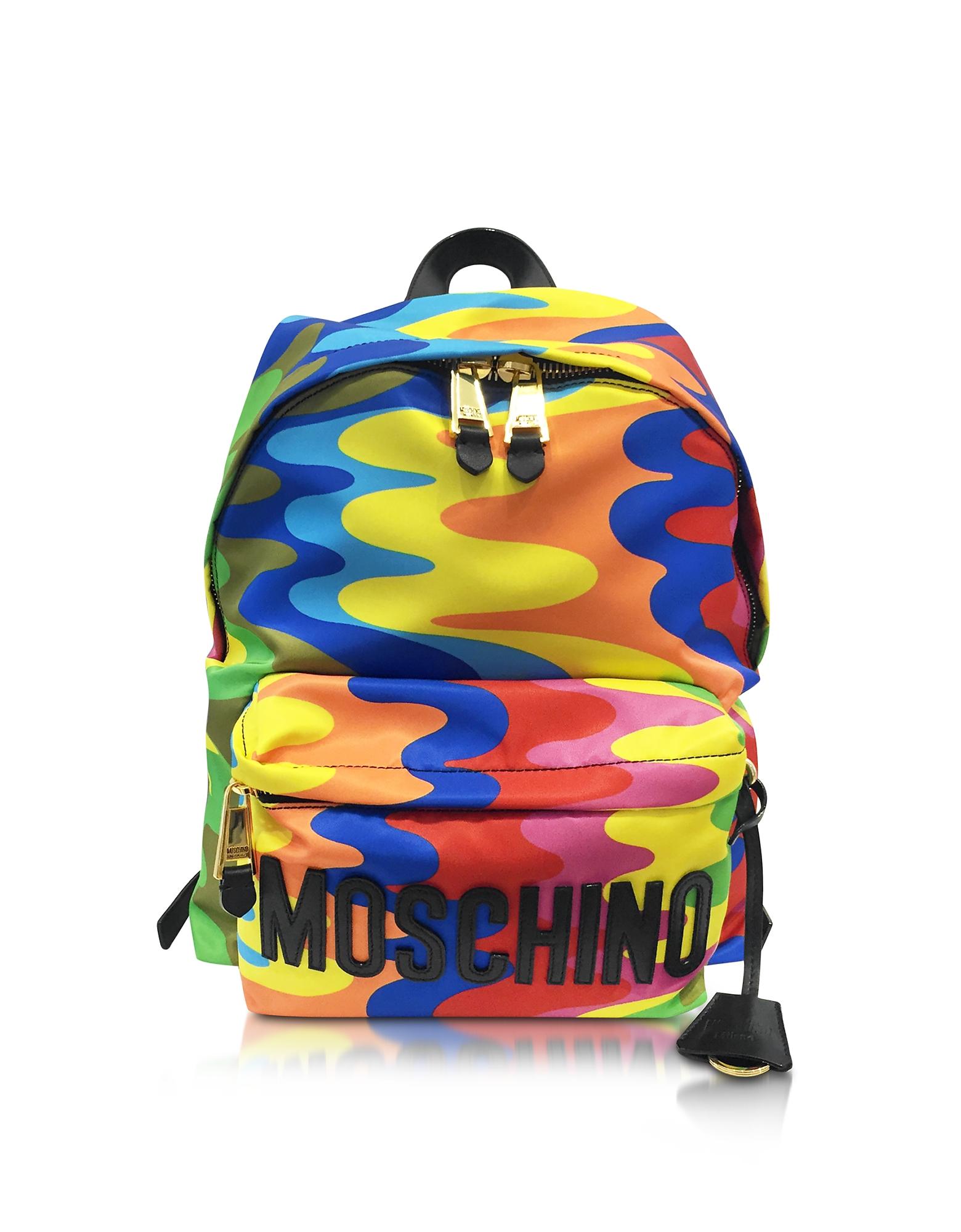 Фото Разноцветный Рюкзак из Нейлона с Принтом и Логотипом. Купить с доставкой