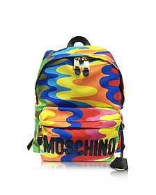 Multicolor Print Nylon Backpack w/Logo - Moschino