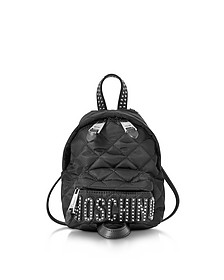Black Quilted Nylon Mini Backpack w/Studs  - Moschino
