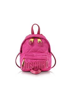 Fuchsia Quilted Nylon Mini Backpack w/Logo - Moschino