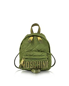 Khaki Quilted Nylon Mini Backpack w/Studs - Moschino