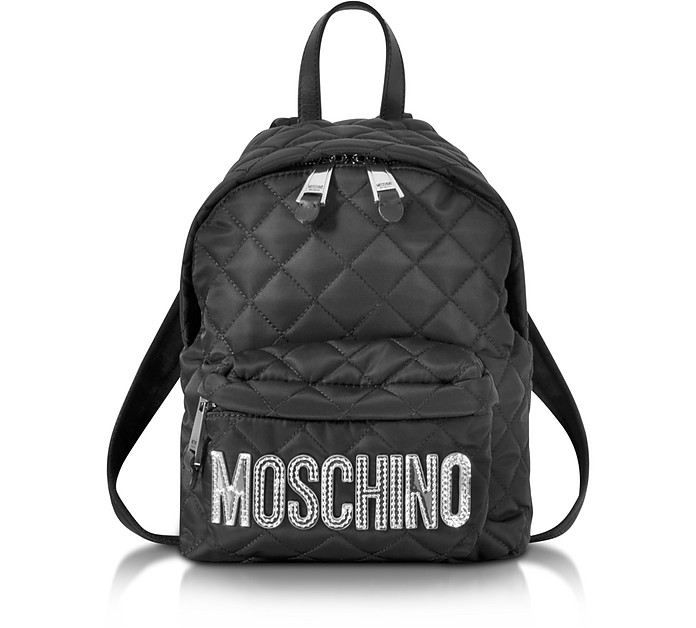 Black Quilted Nylon Small Backpack w/Silver Laminated Logo - Moschino