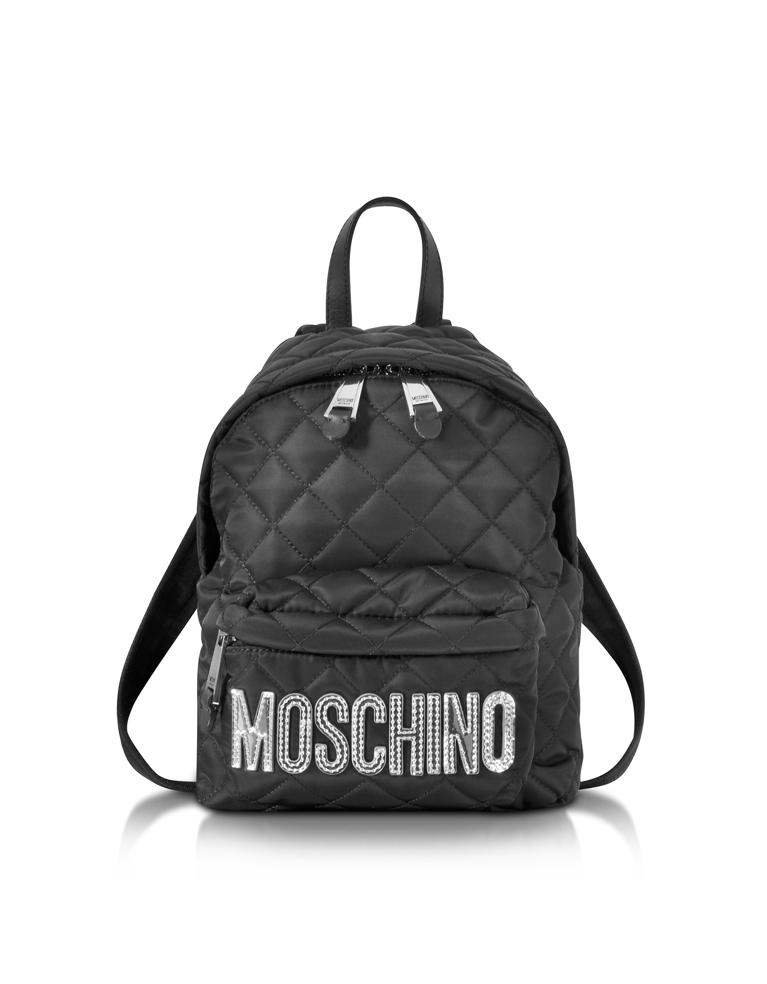 Black Quilted Nylon Small Backpack w/Silver Logo