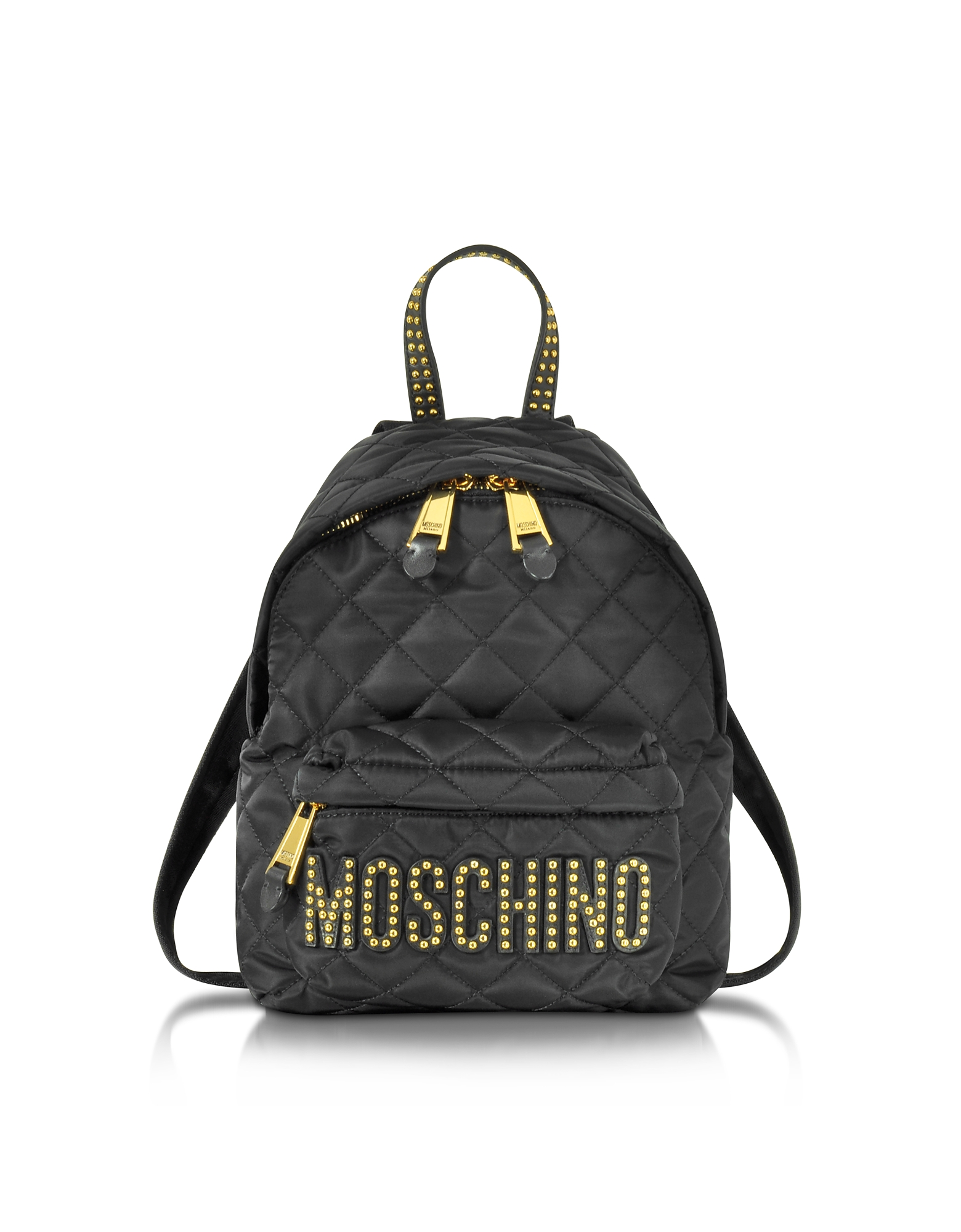 Moschino Handbags, Black Quilted Nylon Small Backpack w/Studs
