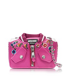 Fuchsia & White Leather Jacket Shoulder Bag - Moschino