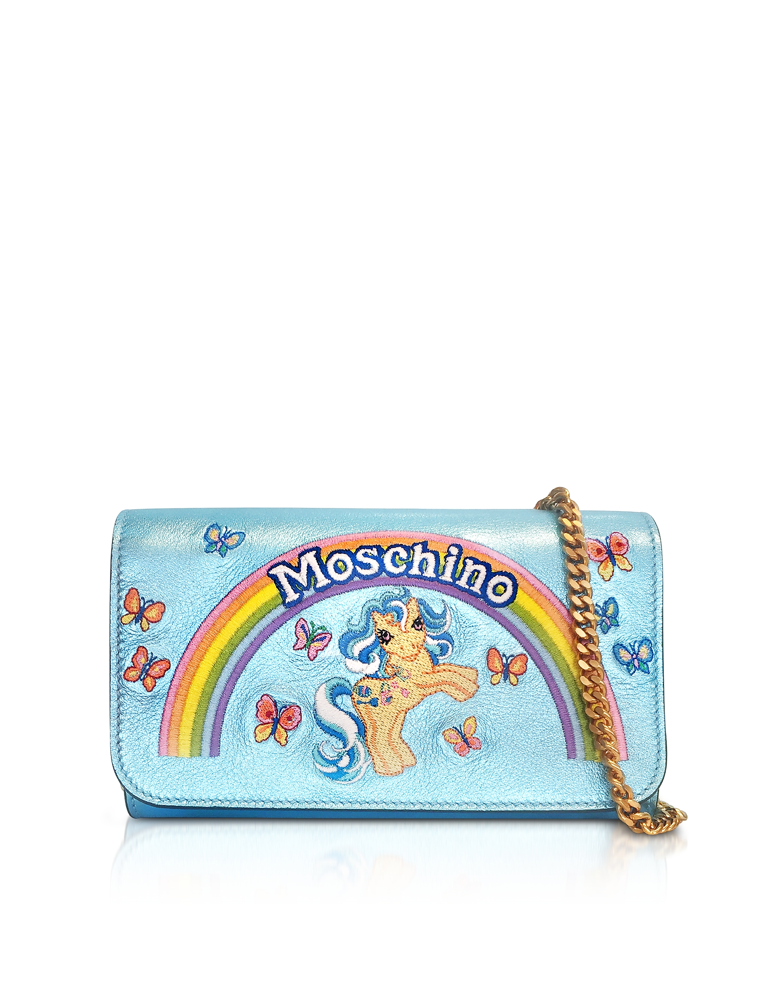 Moschino Handbags, My Little Pony Laminated Leather Wallet Clutch w/Chain