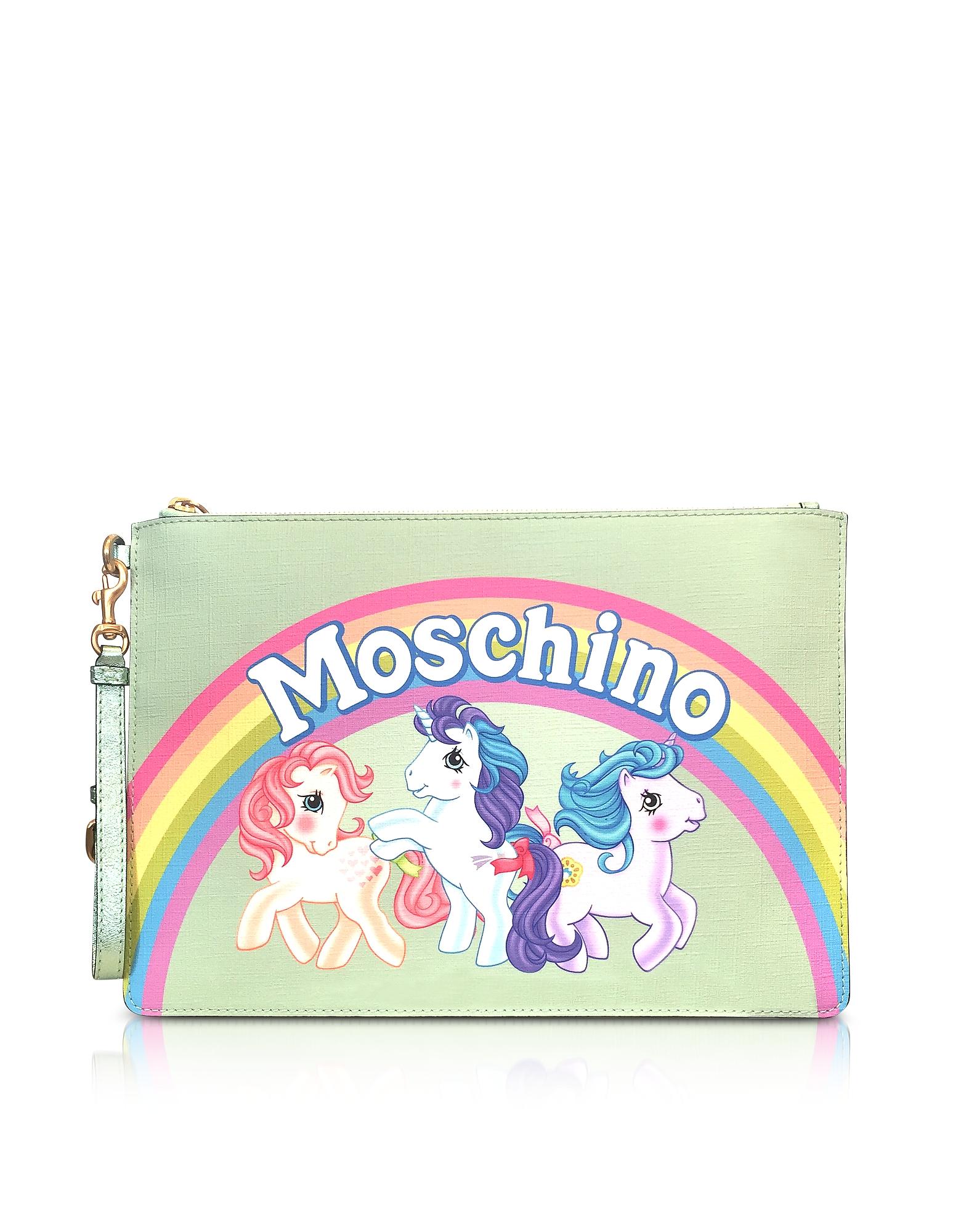 Moschino My Little Pony Aqua Clutch w/Wristlet