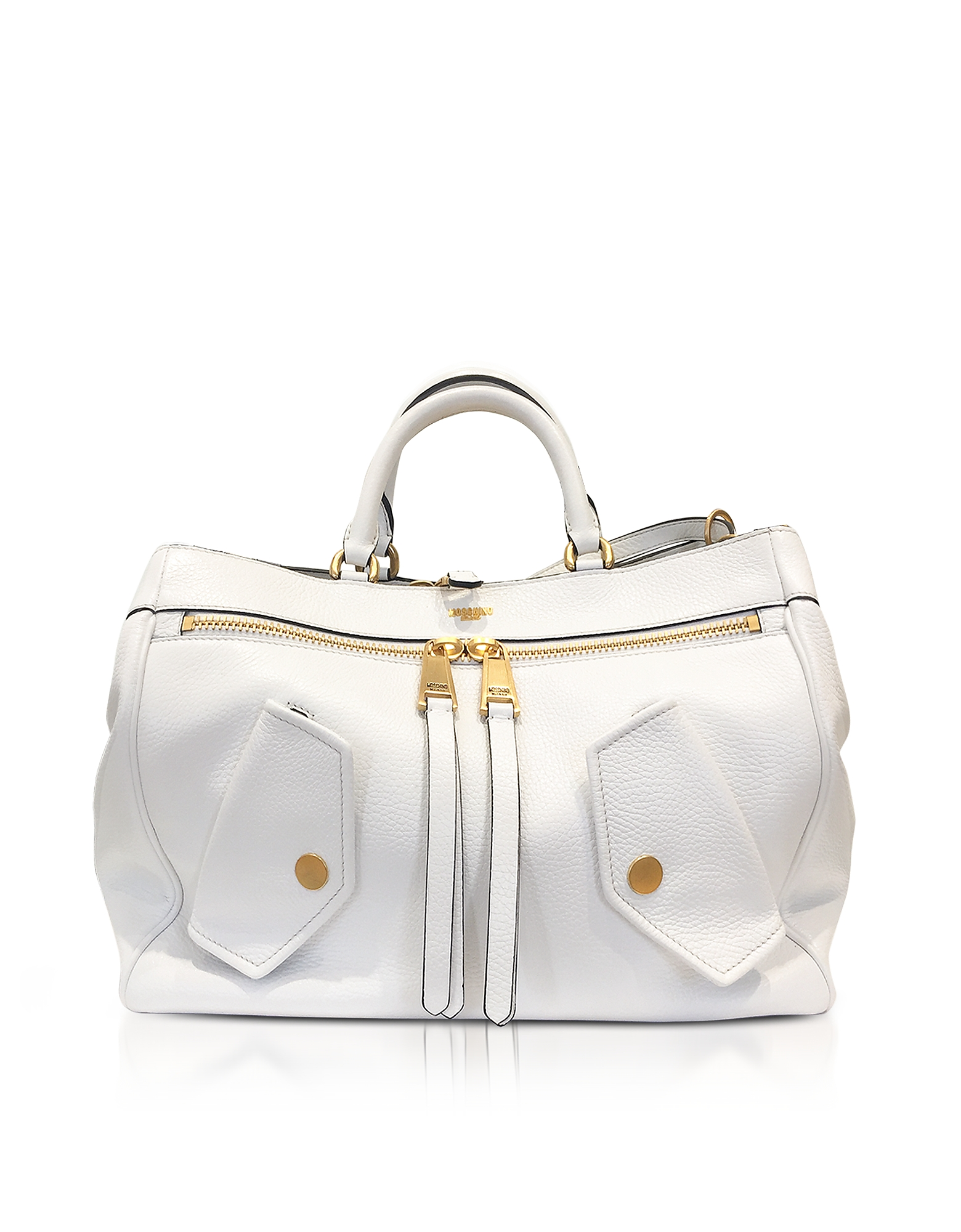 Moschino White Leather Shoulder Bag