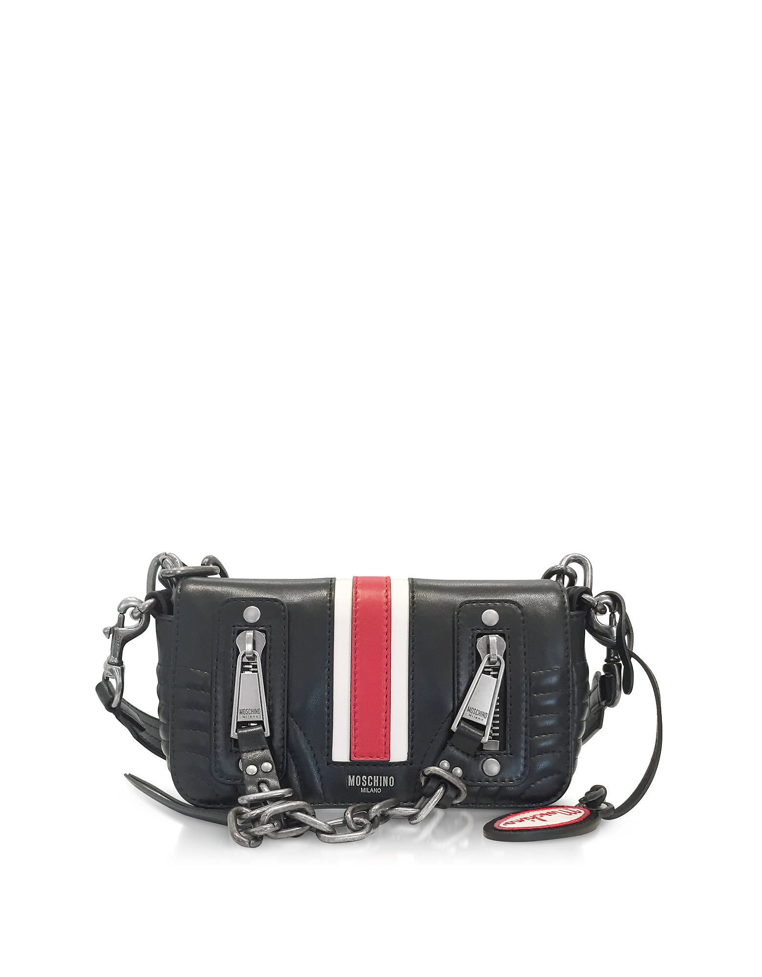 Moschino Black Quilted Leather Small Shoulder Bag w/Red Band