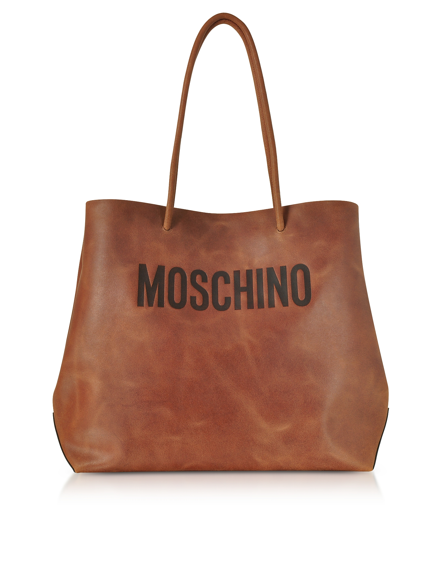 Moschino Handbags, Brown Leather Tote Bag w/Signature Logo