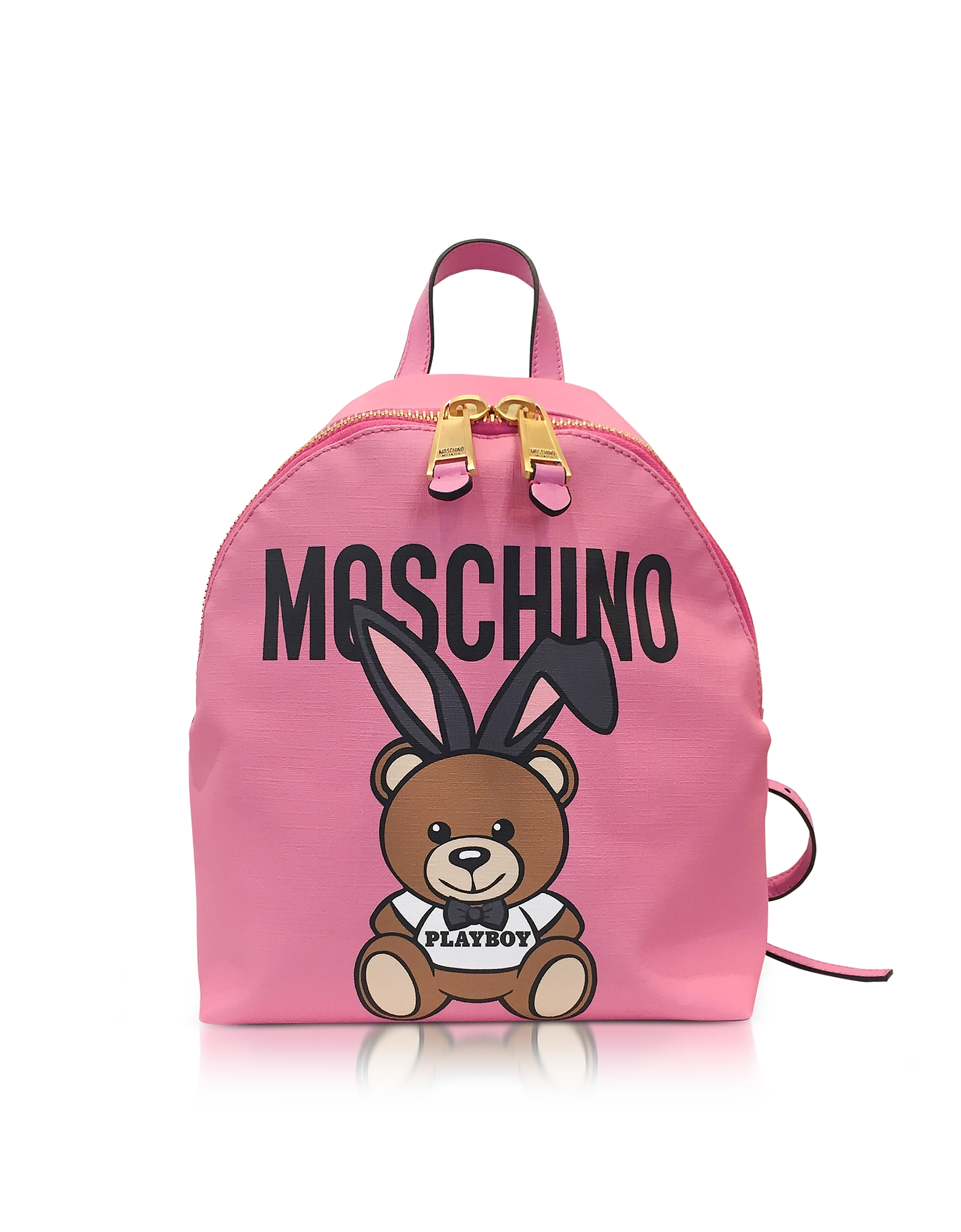 Moschino Handbags, Teddy Playboy Pink Print Nylon Backpack w/Logo