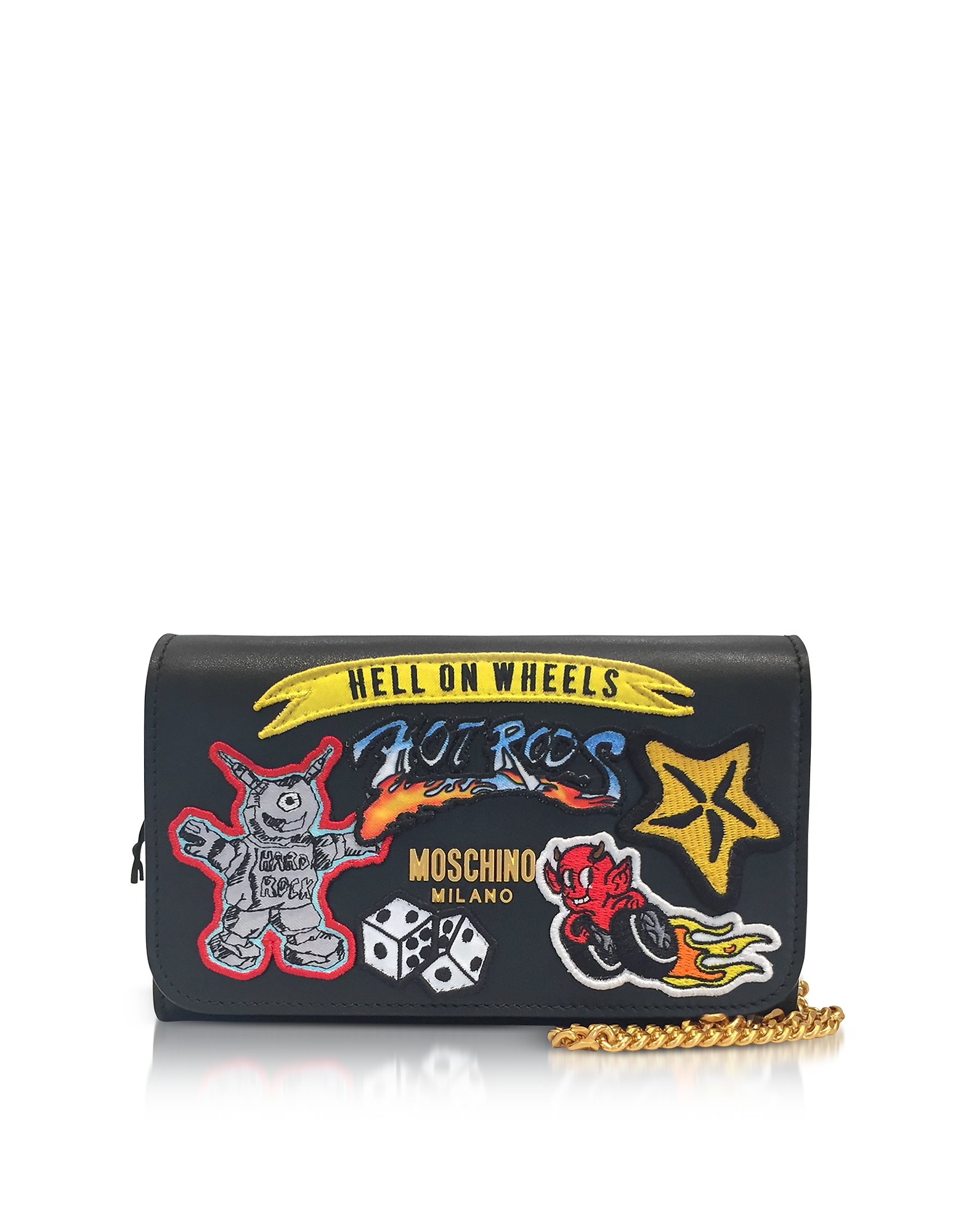 Moschino Handbags, Black Leather Wallet Clutch w/Patches