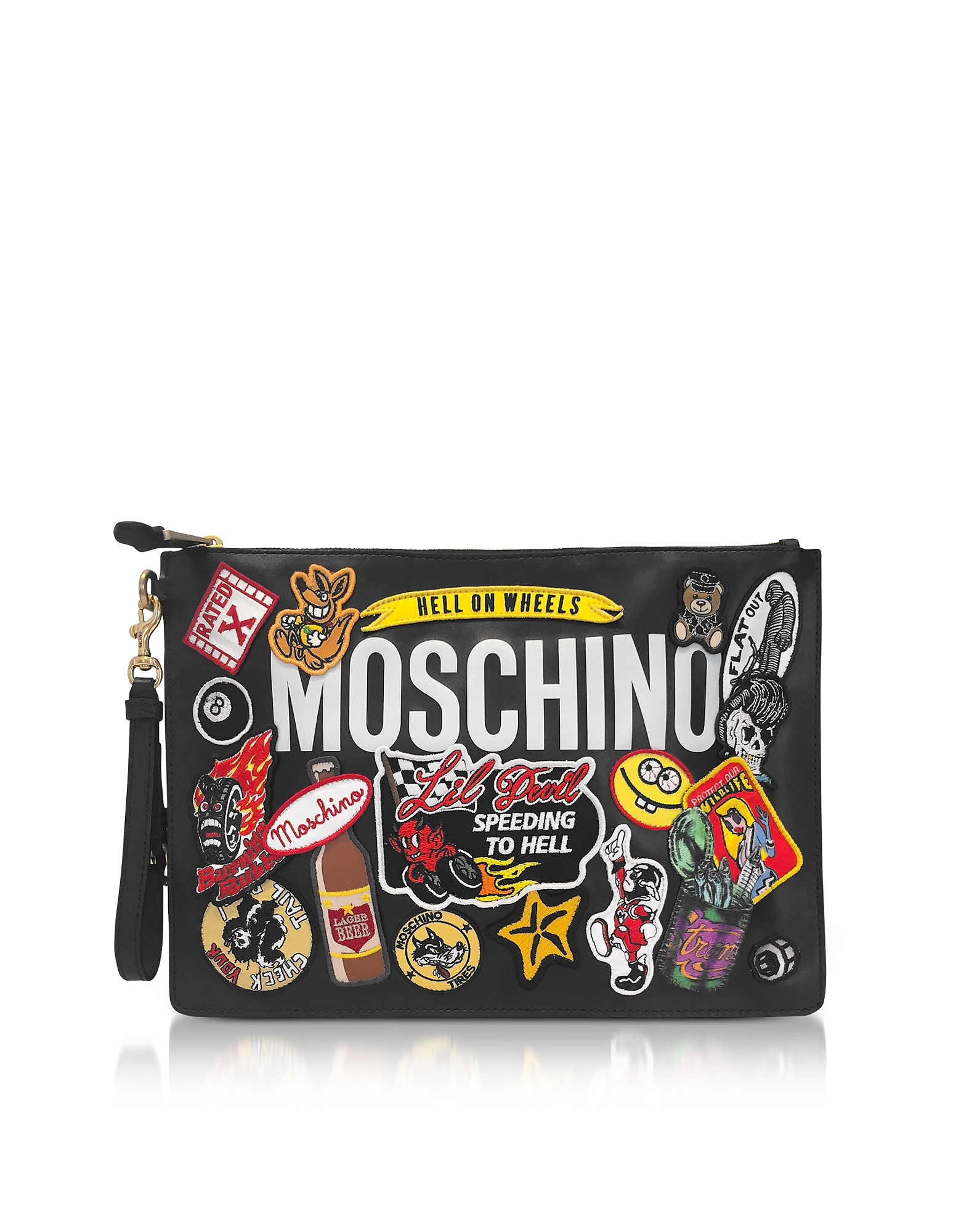 Moschino Black Leather Clutch w/Patches and Logo