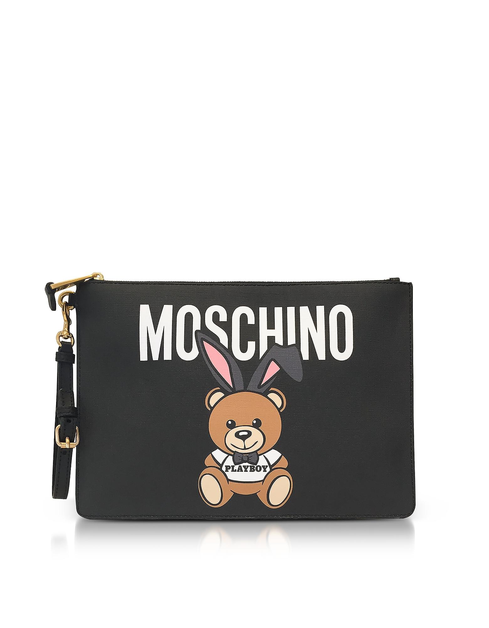 Moschino Teddy Playboy Print Saffiano Leather Oversized Clutch